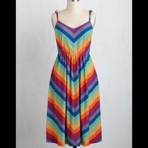 ModCloth NWT rainbow stripped midi dress small